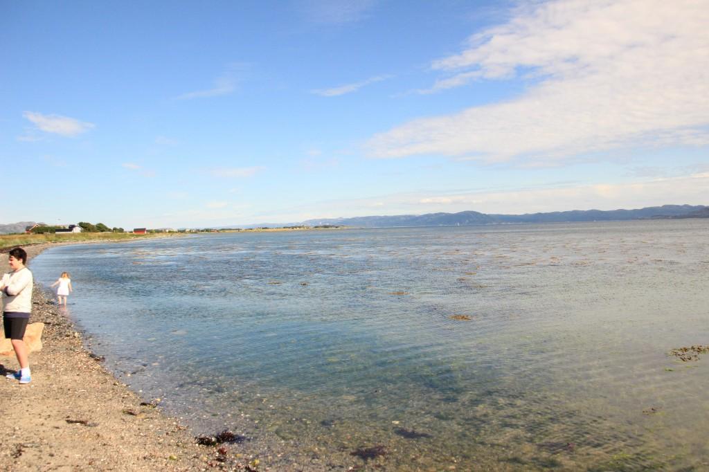 Vakker sommerdag ned på stranda ved Trondheimsfjordens munning.